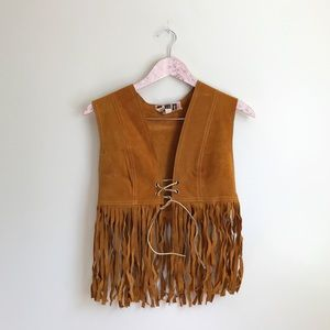 Vintage Brown Suede Leather Fringe Boho Vest
